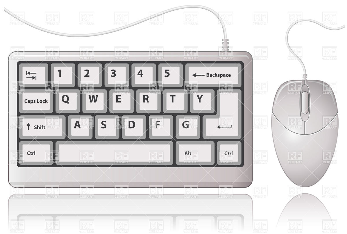 White Keyboard and Computer Mouse Stock Vector Image.