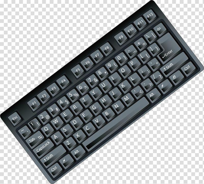 Computer keyboard Space bar, Black keyboard computer parts.