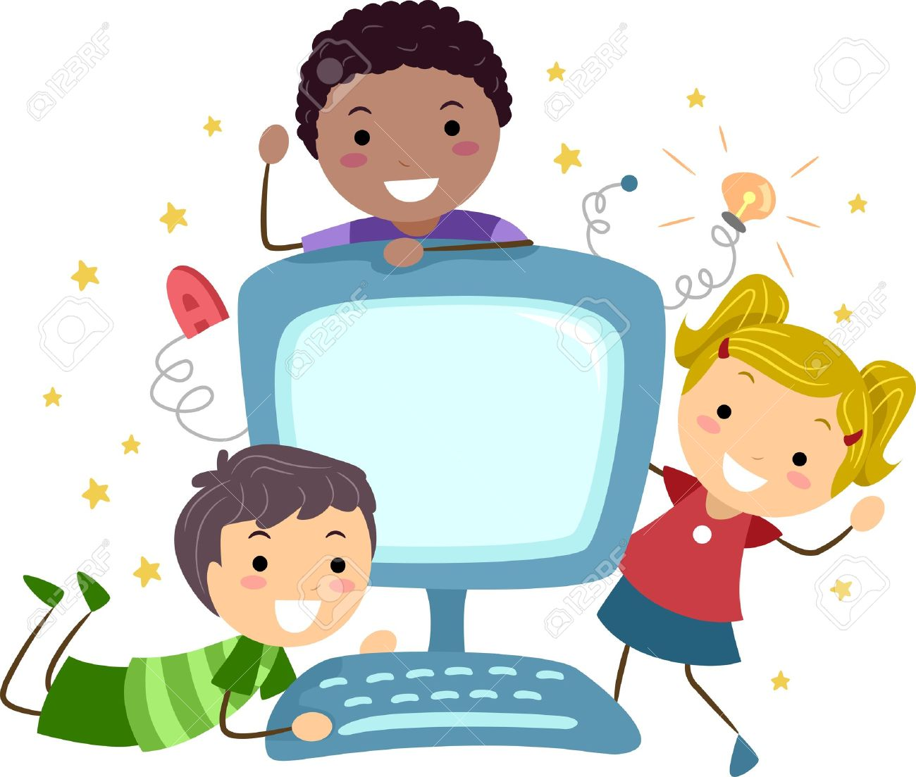Kids At Computer Clipart.