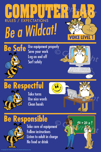 Wildcat Computer Lab Rules PBIS Posters.