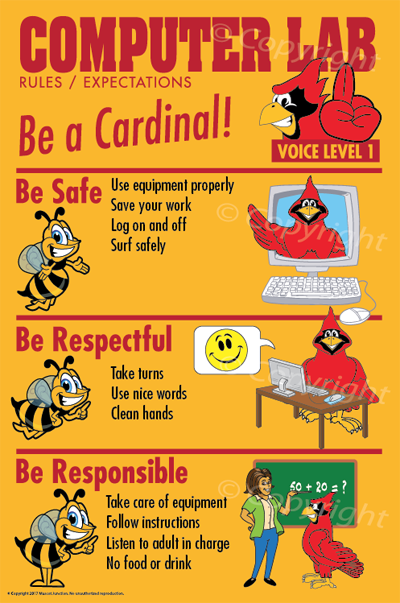 PBIS Posters Cardinal Computer Lab Rules.