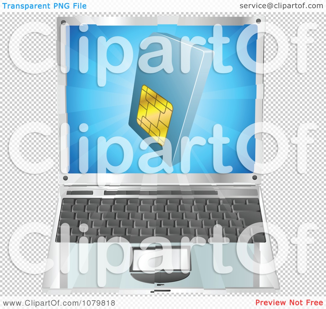 Clipart 3d Blue SIM Card Over A Laptop Computer.