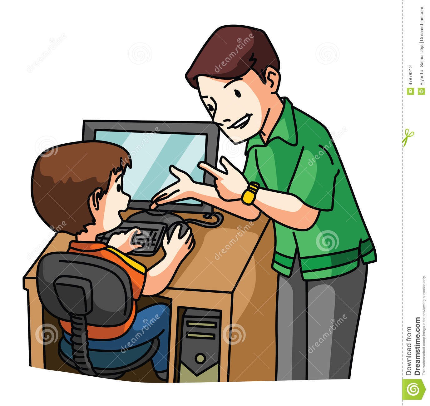 Kid Learning Computer Stock Vector.