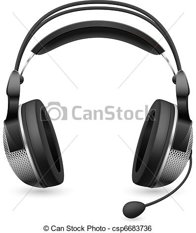 Clip Art Vector of Realistic computer headset with microphone.