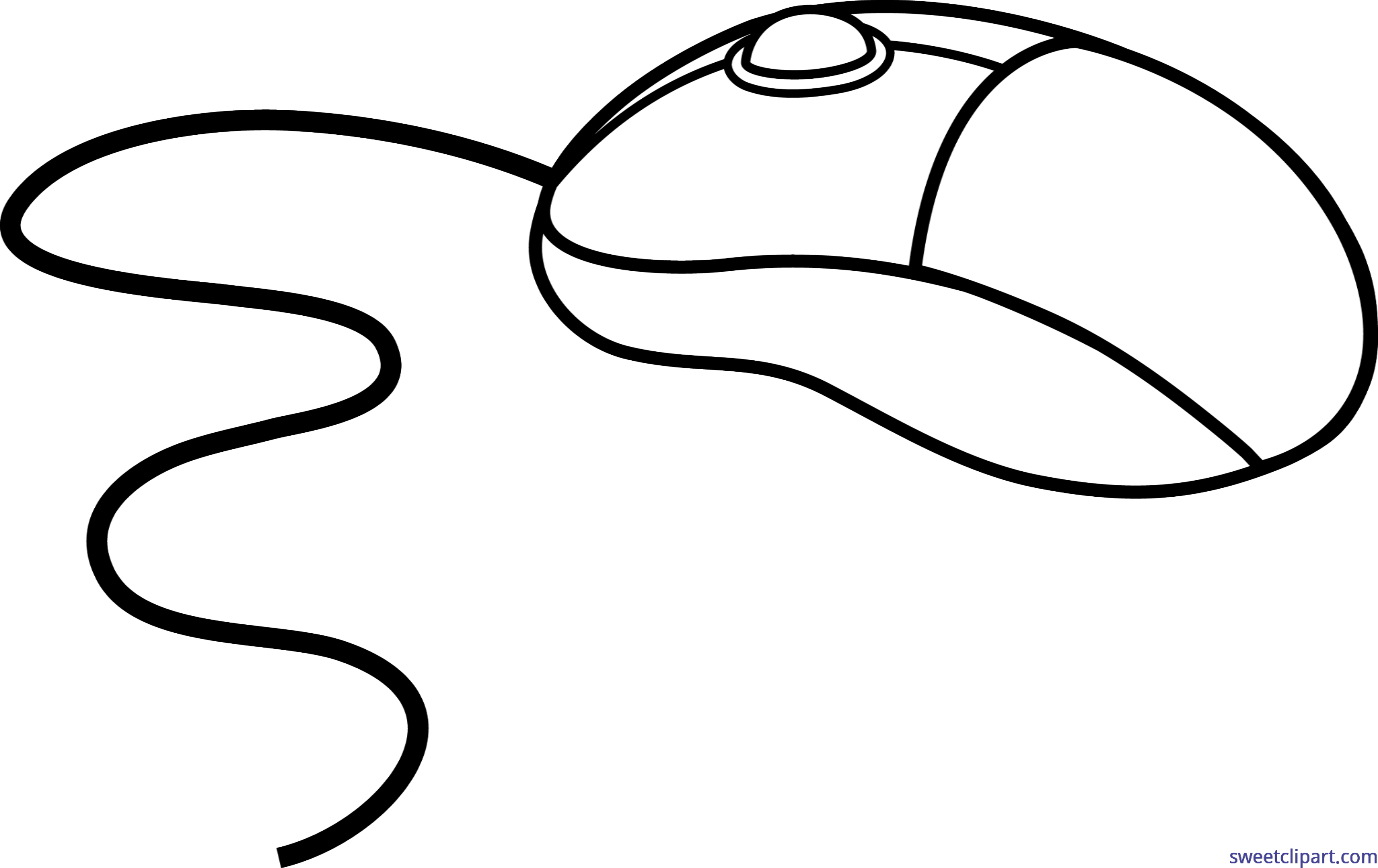 Computer Mouse Lineart Clip Art.