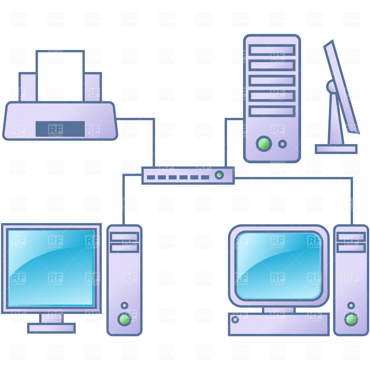 Computer network Stock Vector Image.