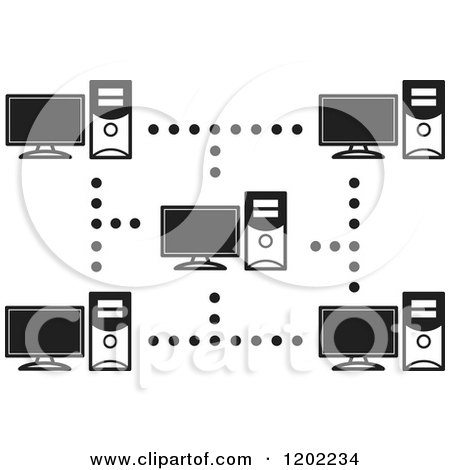 Clipart of a Black and White Computer Network Icon.