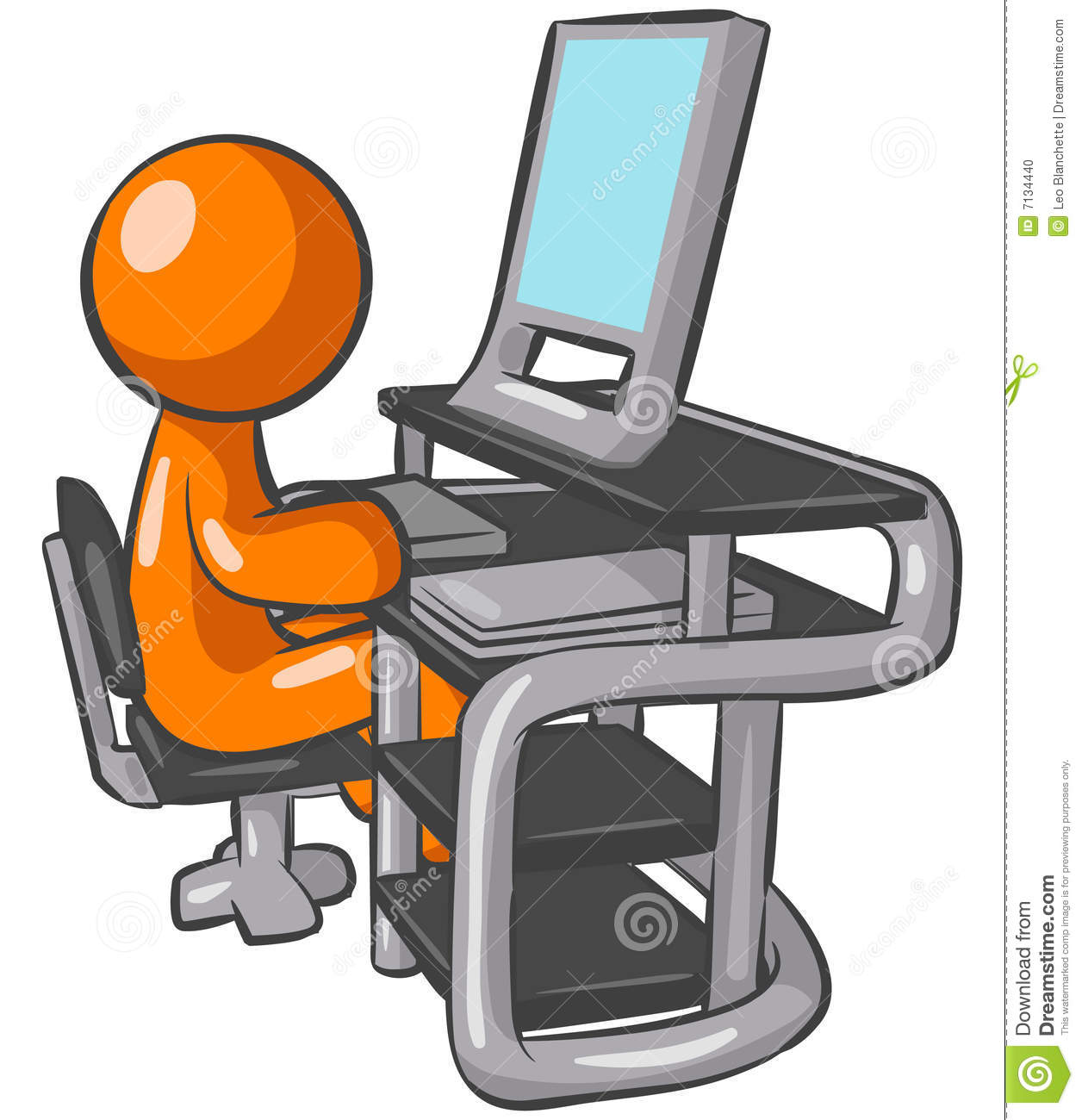 Computer Operator stock vector. Illustration of person.