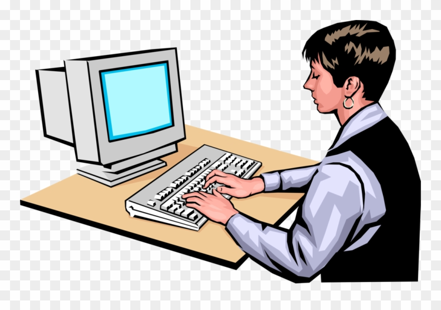 Entrepreneur Works At Computer Vector Image Illustration.