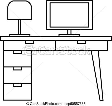 Computer table icon, outline style.