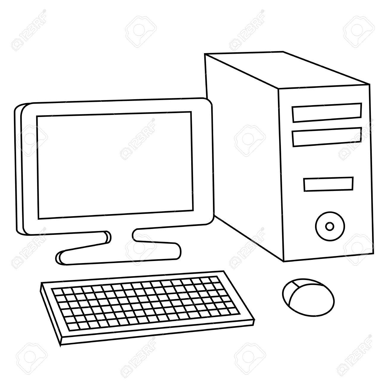 Black outline vector computer on white background..