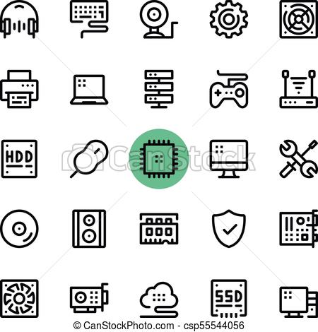 Computer parts, computer hardware line icons set. Modern graphic design  concepts, simple outline elements collection. 32x32 px. Pixel perfect.  Vector.