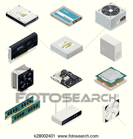 Computer detailed isometric parts Clipart.