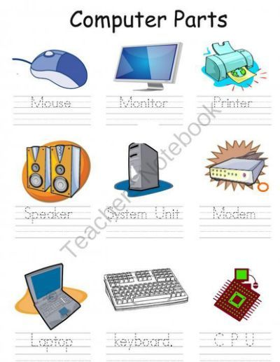 Parts of a computer for kids clipart.