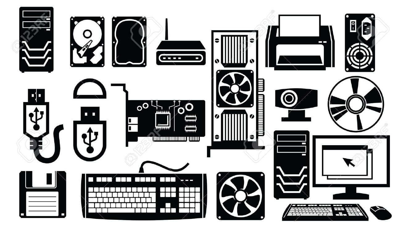 Old computer parts clipart.