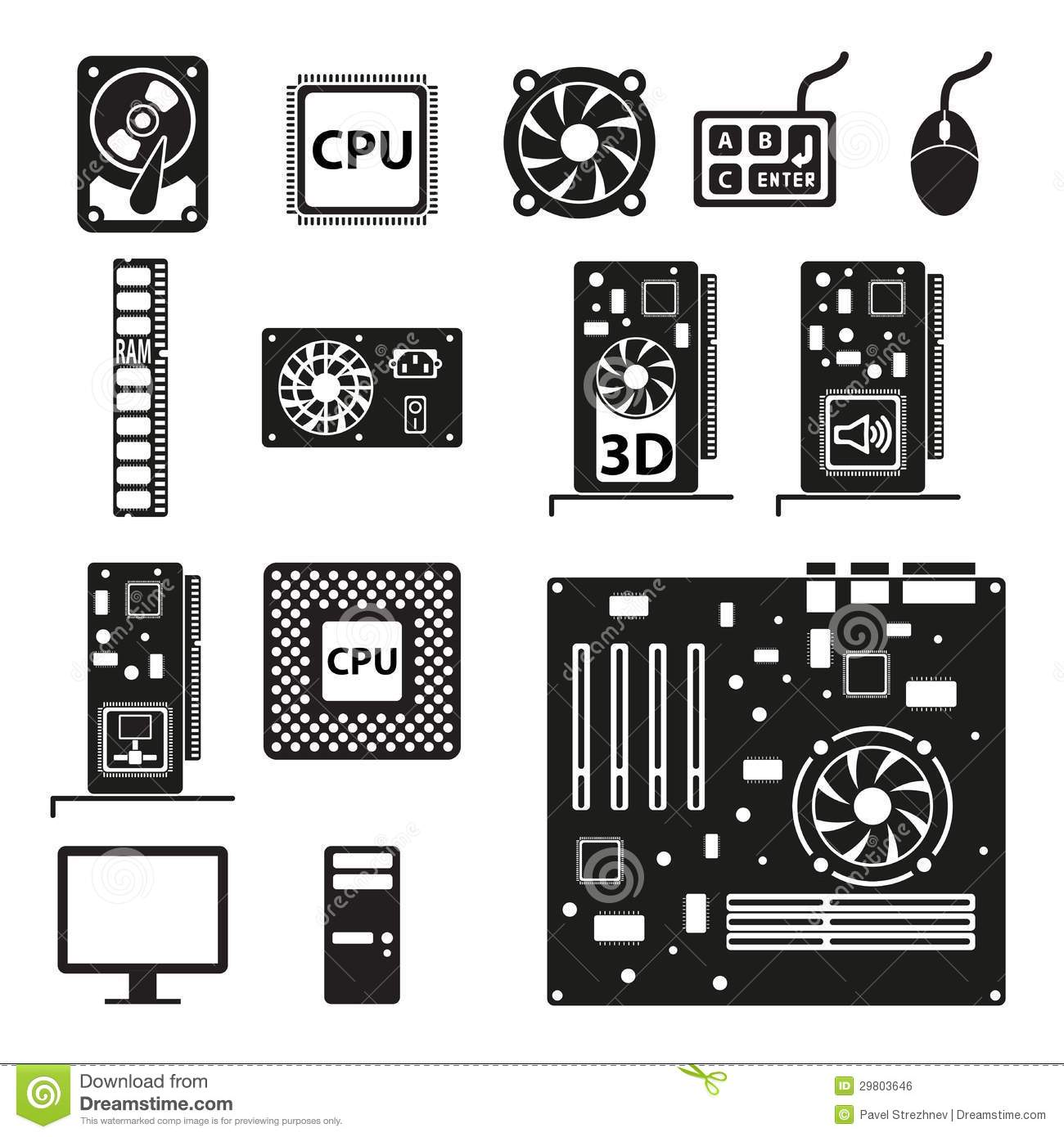 Clipart of computer parts.