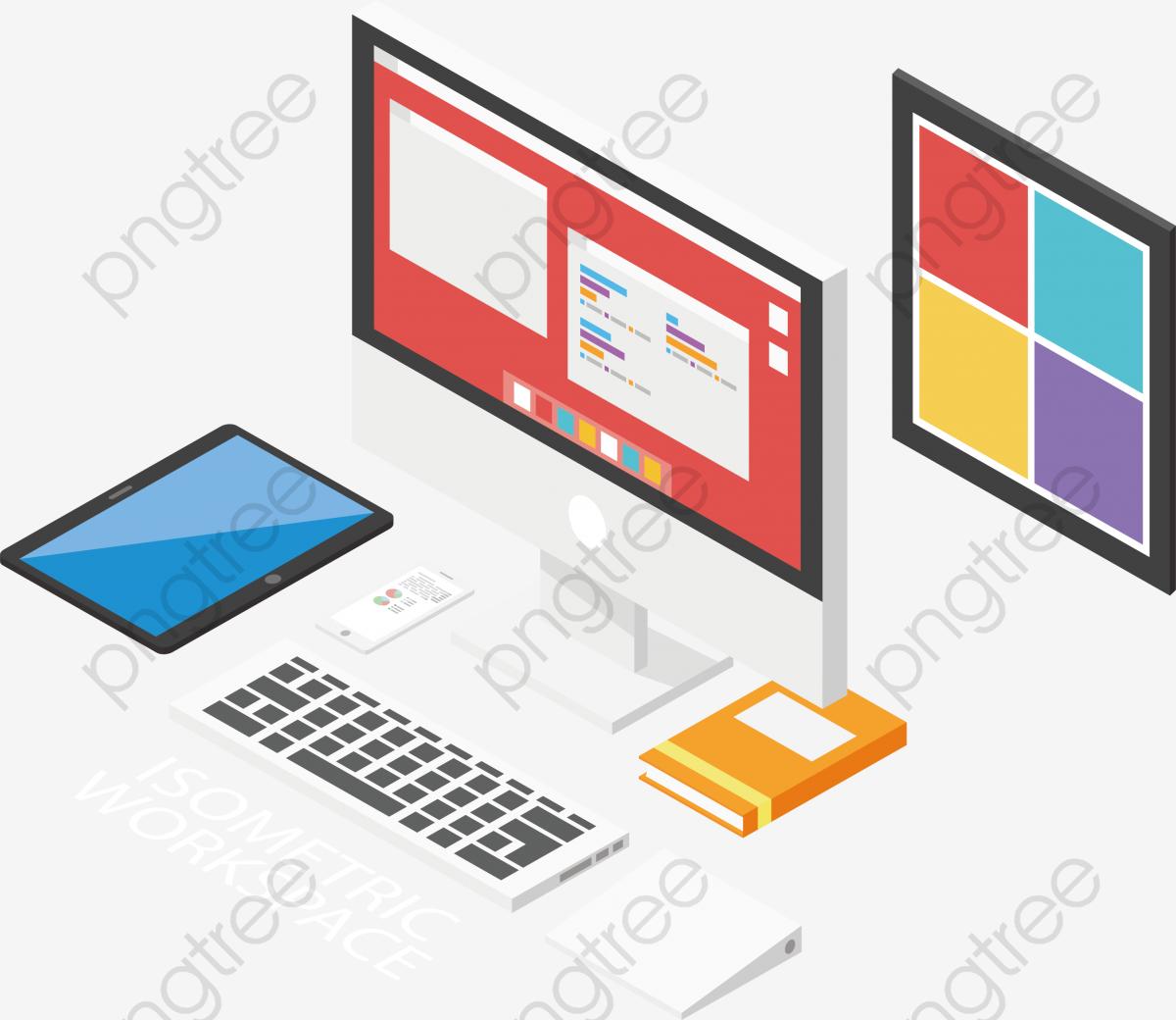 White Desktop Computer, Computer Clipart, Vector Png, Computer PNG.