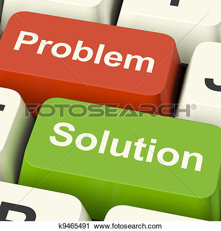 Clipart of Problem And Solution Computer Keys Shows Assistance And.