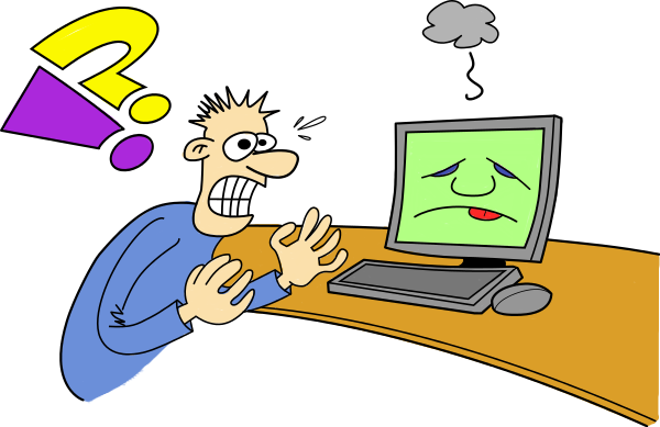 Frustrated Computer User Clipart.