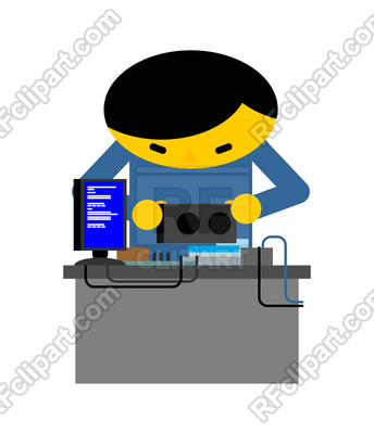 Computer repair. Guy is repairing PC. mending and assembly of electronic  brain. Miner Vector Image.