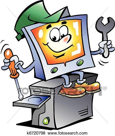 Computer Repair Mascot Clip Art.