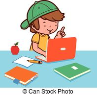 Three kids doing research on computer in the room clipart vector.