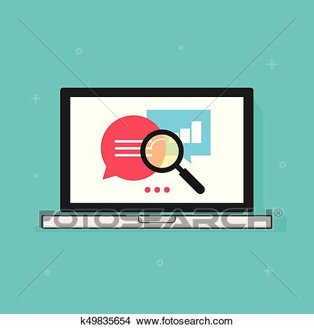 Laptop analytics data vector icon, computer research optimization, search  Clipart.