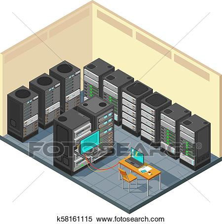 Isometric network server room with row of computer equipments Clipart.