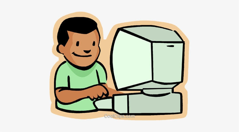 Little Boy With Computer Royalty Free Vector Clip Art.