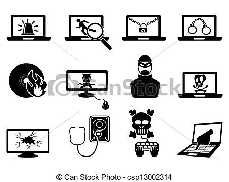 Vector Clip Art of computer security and Cyber Thift icons.