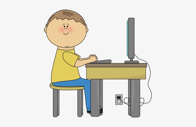 Student Using Computer Clip Art Image Boy Student Sitting.