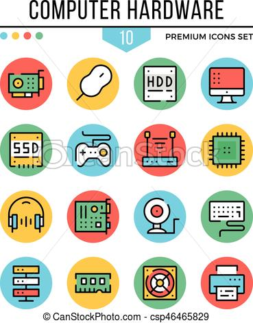 Computer hardware, computer components icons. Modern thin line icons set.  Premium quality. Outline symbols collection, flat line icons. Vector.