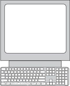Clipart Illustration of an Old School Computer.