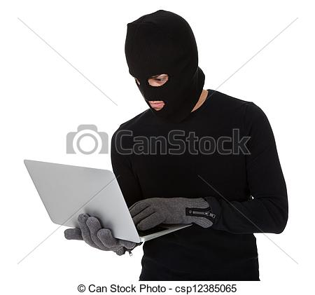 Stock Image of Burglar on Computer.