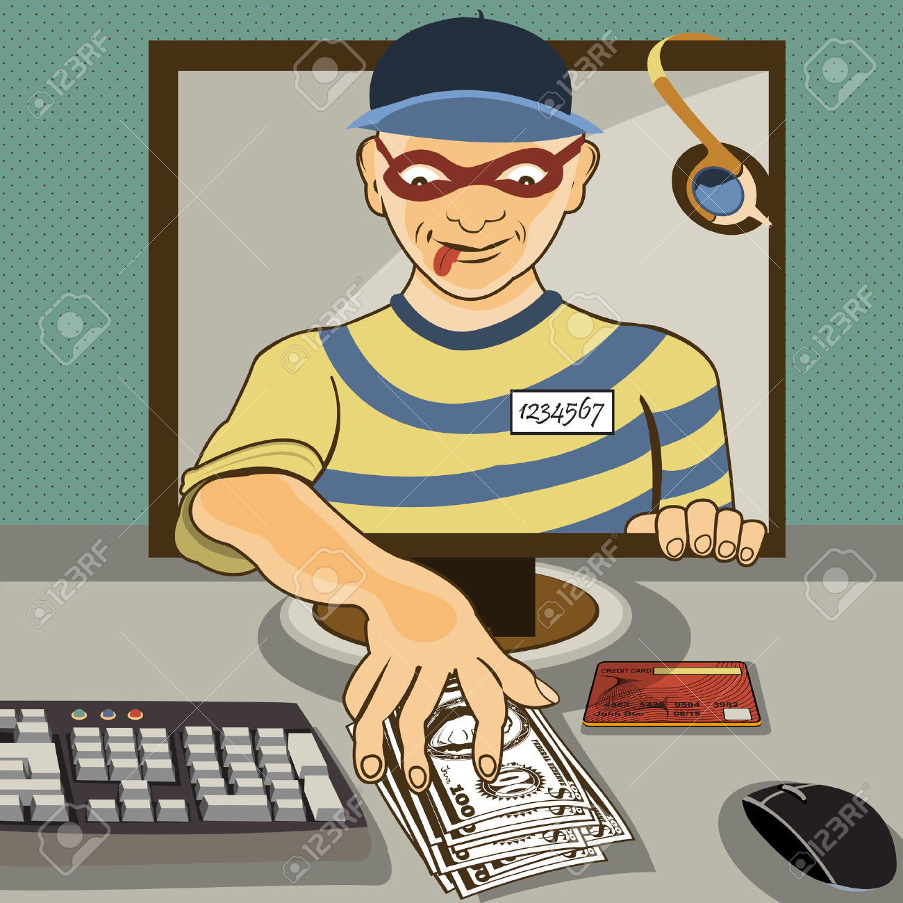 Vector Illustration Of A Man From A Computer Monitor Stealing.
