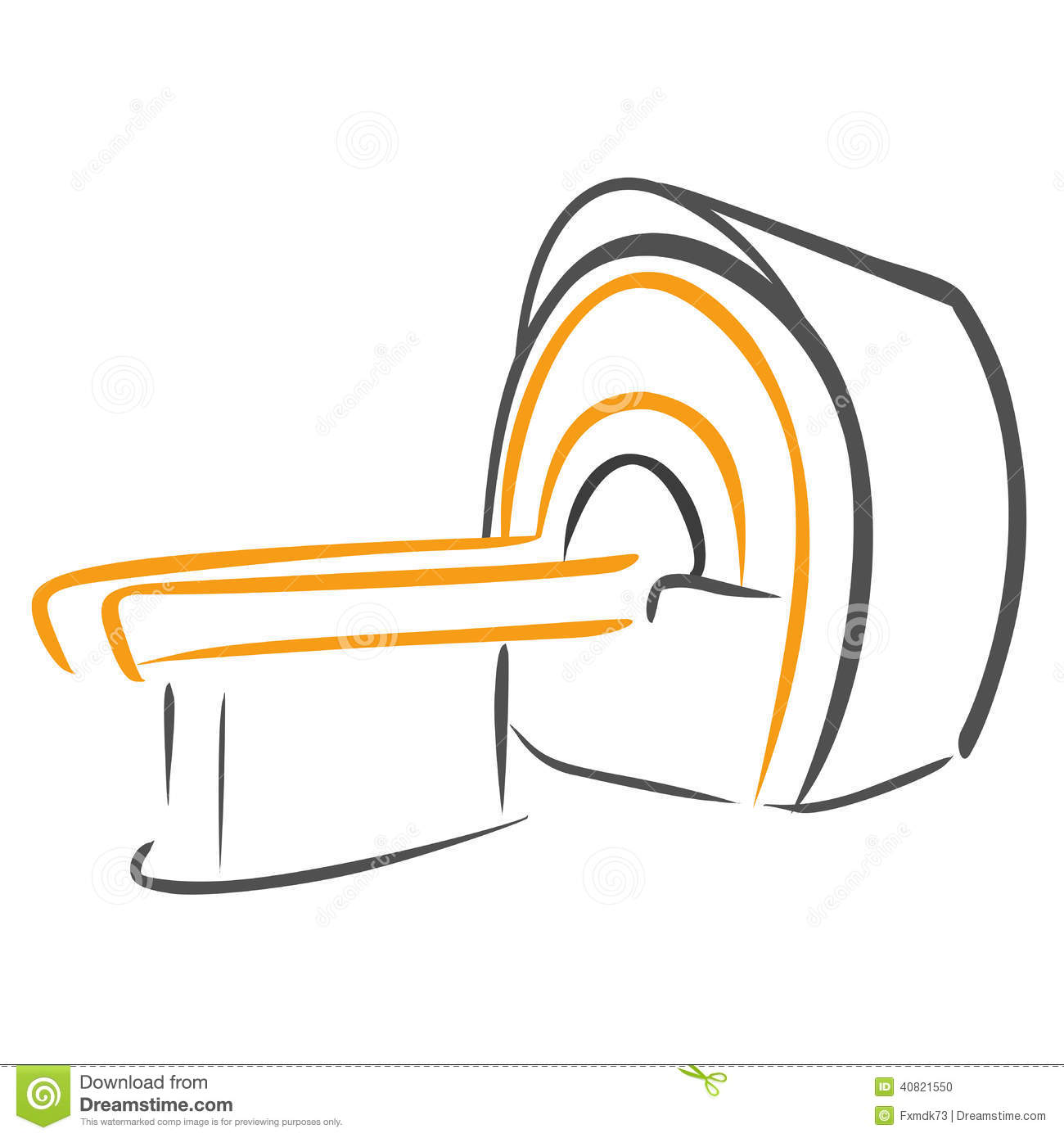 CT Scanner Sketch Stock Vector.