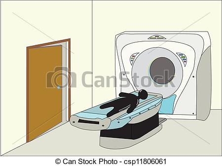 Clip Art Vector of CT Scan Room.