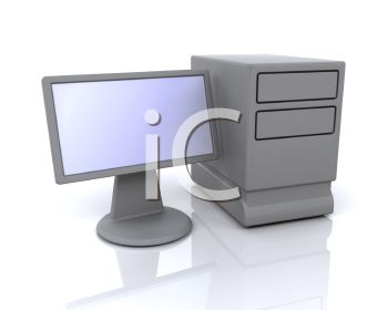 3D Computer Tower and Monitor.
