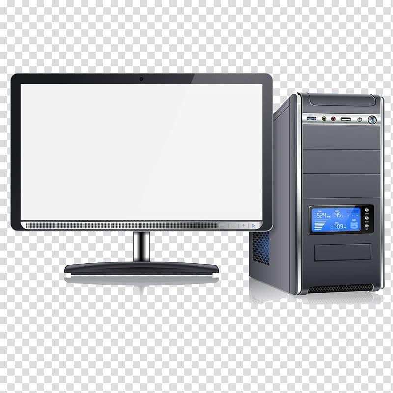 Black flat screen computer monitor and black computer tower.