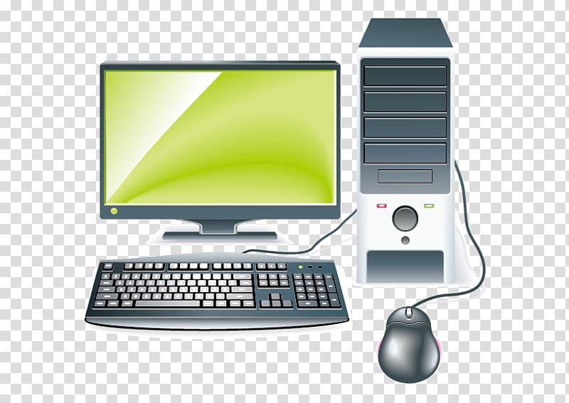 Gray flat screen computer monitor, keyboard, and computer tower.