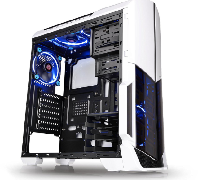 Thermaltake Versa Clear Computer Tower Atx Mid Case White Gaming Pc Cooling  Fan.