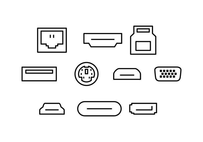 Free Computer Port Line Icon Vector.