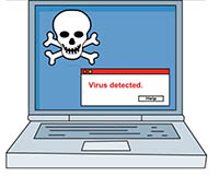 Animated computer virus clipart.
