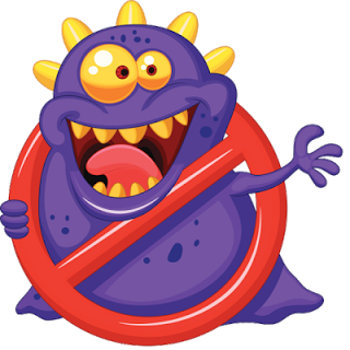 Funny computer virus clipart.