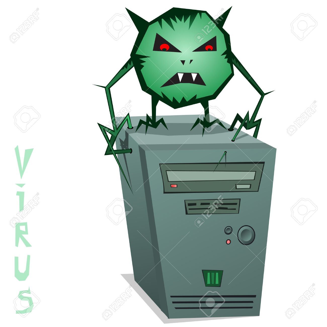 Computer Virus! Illustration Of A Computer Virus. Green Computer.