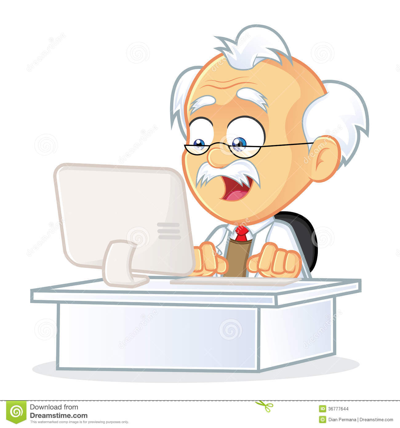 Professor Sitting In Front Of A Computer Stock Images.