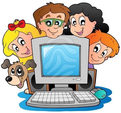 Child at computer clipart.