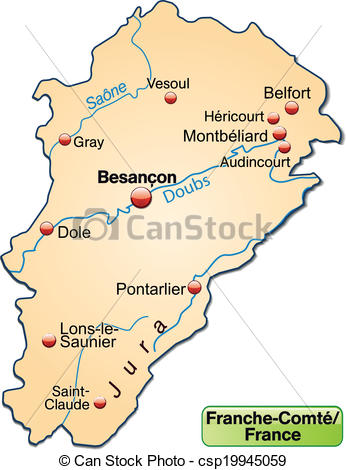 Clipart Vector of Map of Franche.