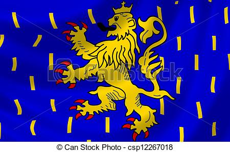 Clipart of Flag of French Franche Comte region waving in the wind.
