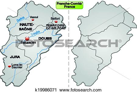 Clipart of Map of Franche.